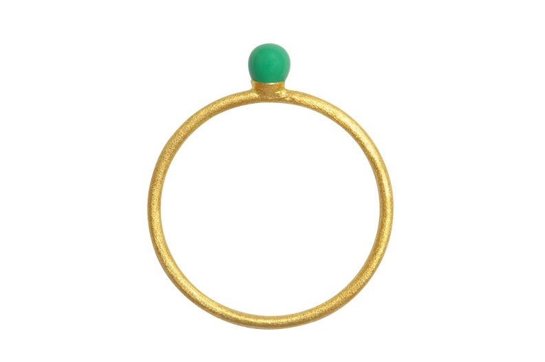 LULU RingParty Ball green gold brushed front