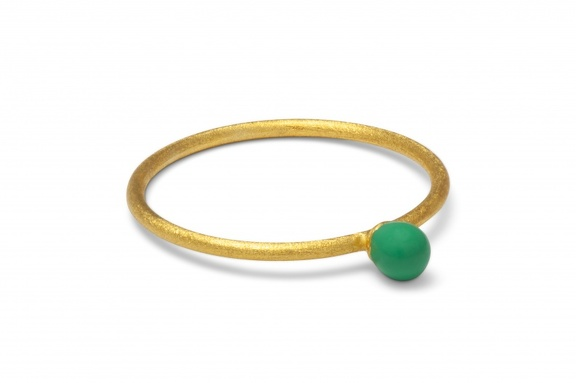 LULU RingParty Ball green gold brushed perspective