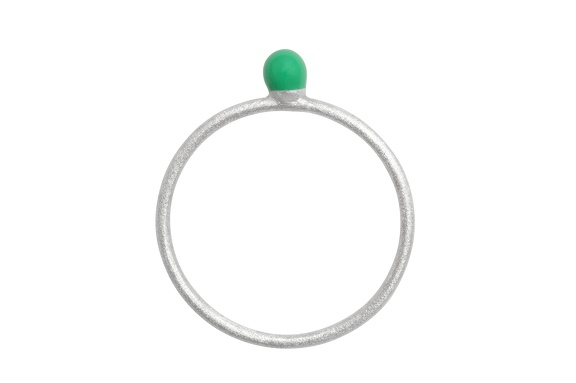 LULU RingParty Ball green silver brushed front