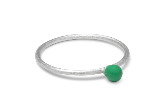 LULU RingParty Ball green silver brushed perspective