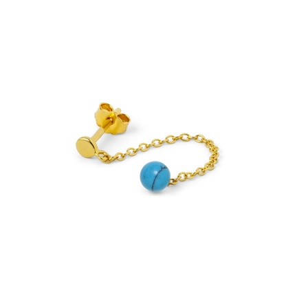 natural stone chain gold turquoise perspective